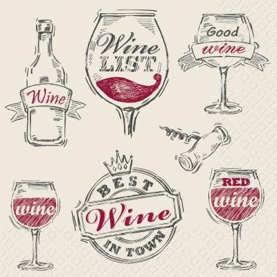 Servietten ,  Getränke - Wein / Sekt,  Everyday,  lunchservietten,  Weingläser,  Wein