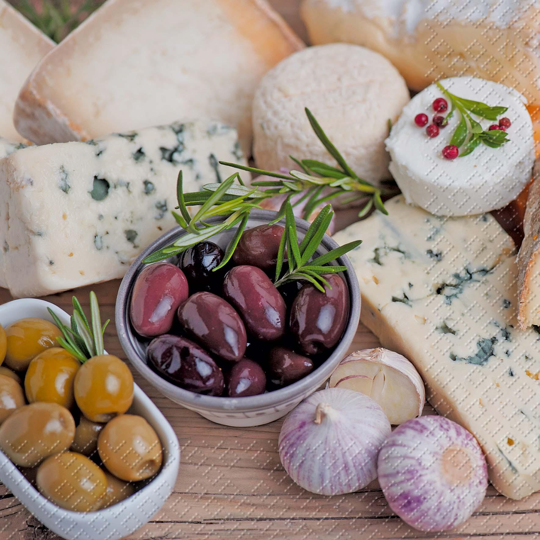 stewo AG,  Früchte - Oliven,  Essen - Käse,  Everyday,  lunchservietten,  Oliven,  Käse
