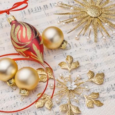 Lunch Servietten Issa gold,  Sonstiges - Musik,  Weihnachten - Baumschmuck,  Weihnachten,  lunchservietten,  Baumkugeln,  Musik