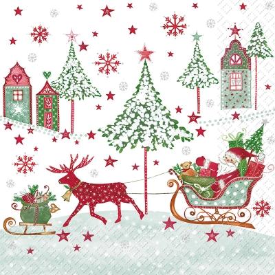 Servietten 33 x 33 cm,  Weihnachten - Geschenke,  Winter - Schlitten,  Weihnachten - Weihnachtsmann,  Weihnachten,  lunchservietten,  Weihnachtsmann,  Schlitten,  Geschenke,  Rentier,  Häuser