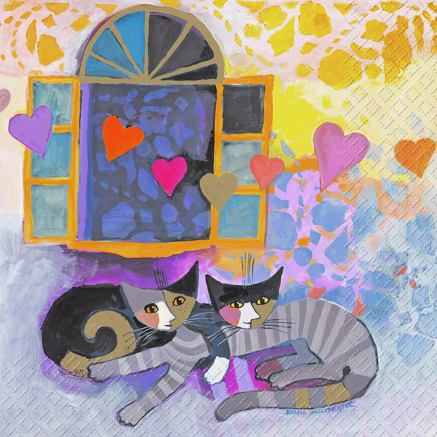 Lunch Servietten Flying Hearts,  Tiere - Katzen,  Sonstiges - Bilder / Gemälde,  Everyday,  lunchservietten,  Katzen,  Herz