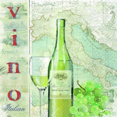 Lunch Servietten Vinz grün,  Regionen - Länder - Italien,  Getränke - Wein / Sekt,  Everyday,  lunchservietten,  Weintrauben,  Glas,  Landkarte