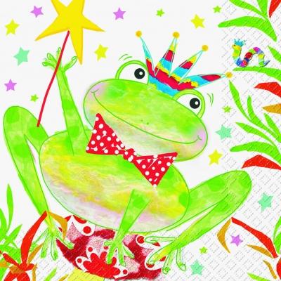 stewo AG,  Tiere - Frösche,  Ereignisse - Geburtstag,  Everyday,  lunchservietten,  Frosch,  Froschkönig,  Krone,  Raupe,  Sterne