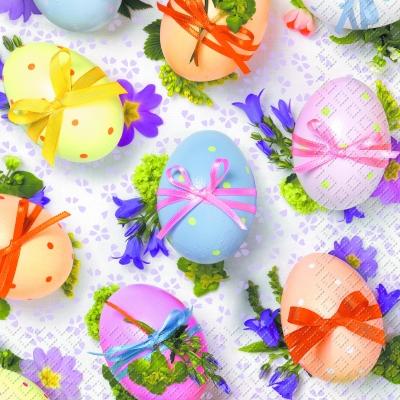 Lunch Servietten Mareta,  Sonstiges - Muster,  Blumen -  Sonstige,  Ostern,  lunchservietten,  Ostereier,  Blumen,  Muster