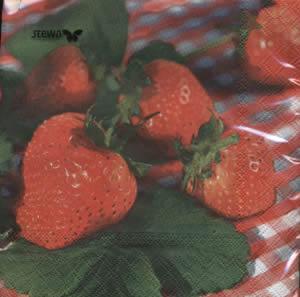 20 Servietten - 33 x 33 cm Caro,  Früchte - Erdbeeren,  lunchservietten