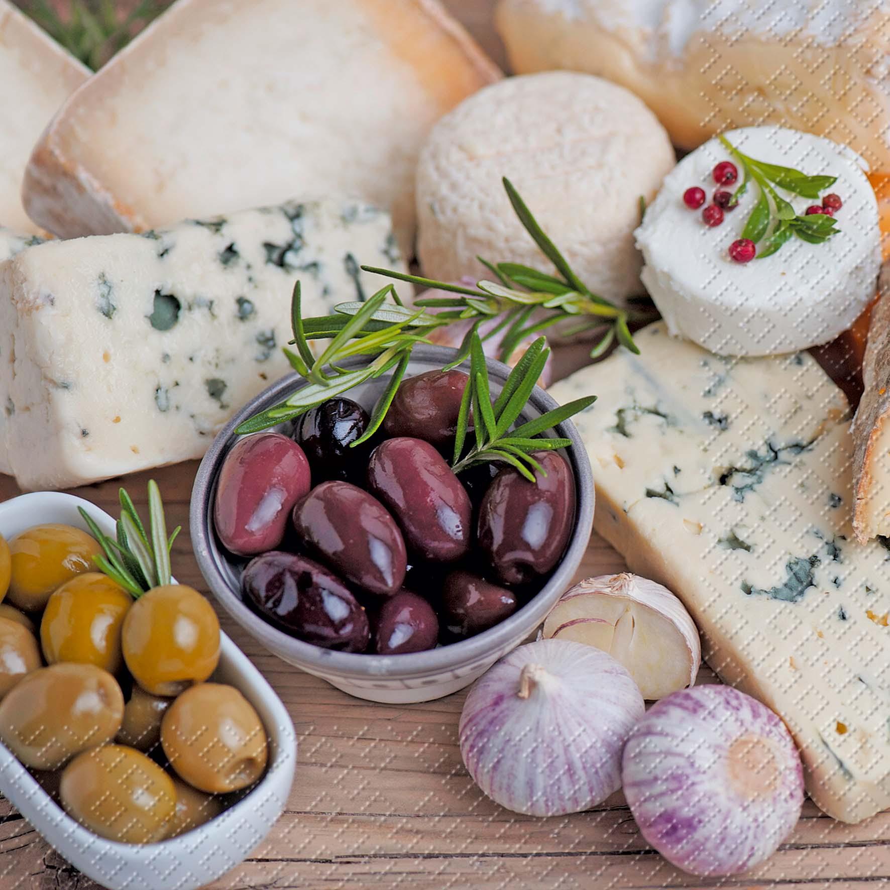 Servietten / Essen,  Früchte - Oliven,  Essen - Käse,  Everyday,  cocktail servietten,  Oliven,  Käse