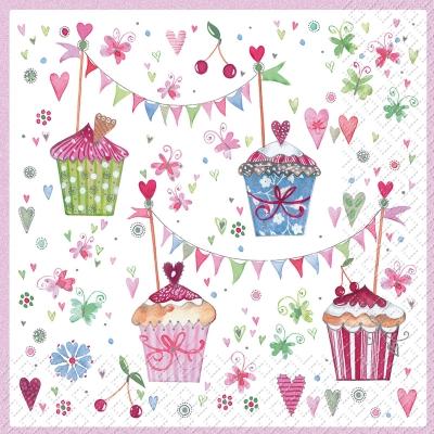 Servietten / Kuchen - Keks,  Essen - Kuchen / Keks,  Ereignisse - Geburtstag,  Everyday,  cocktail servietten,  Kuchen,  Herz,  Blumen,  Schmetterlinge,  Muster