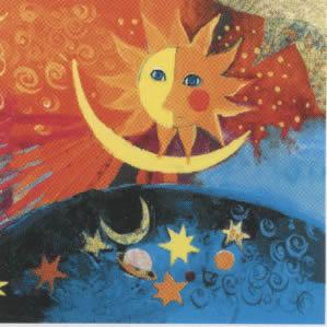 20 Servietten - 33 x 33 cm S4349A. Moonsun,  Sonstiges - Muster,  Sonstiges - Märchen,  Ereignisse -  Sonstige,  Everyday,  lunchservietten,  Sonne,  Mond,  Sterne,  Planeten