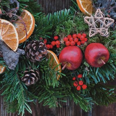 Cocktail Servietten Guirlande Hiver,  Früchte - Äpfel,  Früchte - Zapfen,  Weihnachten - Sterne,  Weihnachten,  cocktail servietten,  Sterne,  Äpfel,  Zapfen