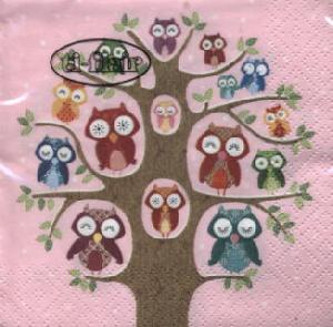 Cocktail Servietten Owl Family Tree pink,  Pflanzen -  Sonstige,  Tiere -  Sonstige,  Everyday,  cocktail servietten,  Baum,  Eulen
