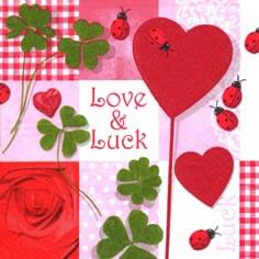 Cocktail Servietten Love&Luck,  Pflanzen - Klee,  Tiere - Marienkäfer,  Ereignisse - Liebe,  Everyday,  cocktail servietten
