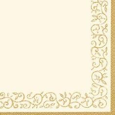 20 Servietten - 25 x 25 cm Romantic Border gold-ivory,  Sonstiges -  Sonstiges,  Everyday,  cocktail servietten,  Muster