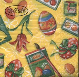 20 Servietten - 25 x 25 cm Colours for Eggs yellow,  Ostern - Ostereier,  Blumen - Tulpen,  Ostern,  cocktail servietten