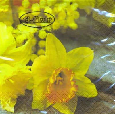 Cocktail Servietten Daffodil on wooden Table,  Blumen - Osterglocken,  Frühjahr,  cocktail servietten,  Narzissen