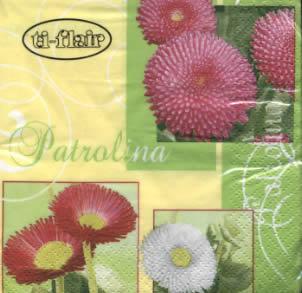 20 Servietten - 25 x 25 cm Patrolina green,  Blumen,  Frühjahr,  cocktail servietten,  Gänseblümchen