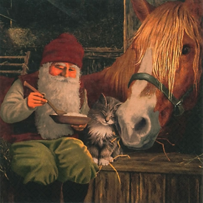 20 Servietten - 33 x 33 cm Nisse with Horse,  Tiere - Katzen,  Tiere - Pferde,  Menschen - Personen,  Weihnachten,  lunchservietten