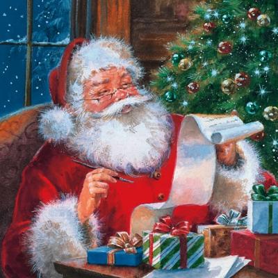Lunch Servietten Santa Claus checking Wishlist,  Weihnachten - Weihnachtsmann,  Weihnachten,  lunchservietten,  Weihnachtsmann