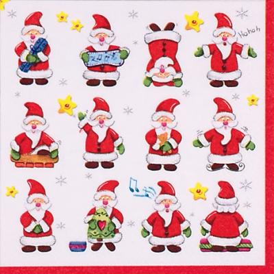 20 Servietten - 33 x 33 cm Funny Santas,  Weihnachten - Weihnachtsmann,  Weihnachten,  lunchservietten