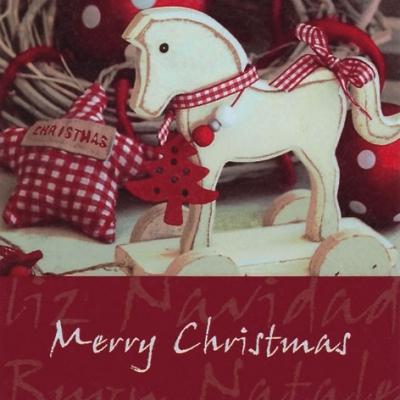 20 Servietten - 33 x 33 cm Wooden Horse,  Weihnachten - Baumschmuck,  Tiere - Pferde,  Sonstiges - Schriften,  Weihnachten,  lunchservietten,  Sterne