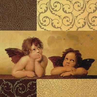 20 Servietten - 33 x 33 cm Two winged Angels,  Weihnachten - Engel,  Weihnachten,  lunchservietten