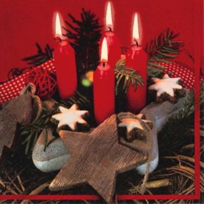Servietten 33 x 33 cm,  Weihnachten - Sterne,  Weihnachten - Kerzen,  Weihnachten - Adventskranz,  Weihnachten,  lunchservietten,  Adventskranz,  Zimtsterne