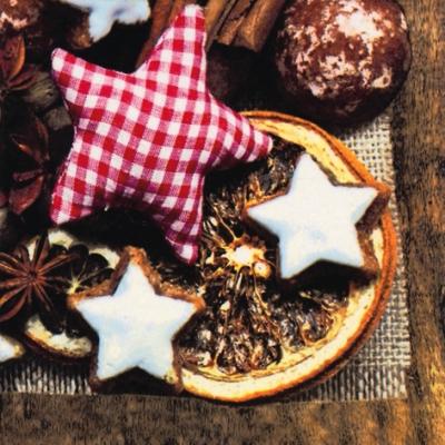 ti-flair,  Essen - Kuchen / Keks,  Weihnachten - Sterne,  Weihnachten,  lunchservietten,  Zimtsterne,  Orangen,  Trockenobst
