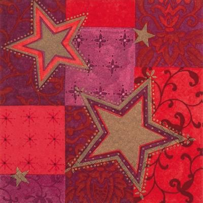 Lunch Servietten Deux Etoiles red,  Weihnachten - Sterne,  Weihnachten,  lunchservietten