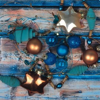 Lunch Servietten Turquoise&Bronze Baubles,  Weihnachten - Baumschmuck,  Weihnachten,  lunchservietten,  Baumkugeln