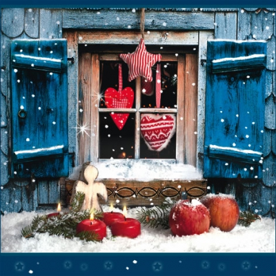 Lunch Servietten Winterly Chalet,  Winter - Schnee,  Weihnachten - Kerzen,  Weihnachten,  lunchservietten,  Fenster,  Kerzen