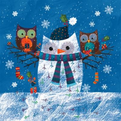 Lunch Servietten Chouette de neige et deux Hiboux,  Winter - Schneemänner,  Tiere -  Sonstige,  Weihnachten,  lunchservietten,  Eulen,  Schneemann