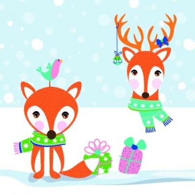 Lunch Servietten Fox & Deer,  Tiere -  Sonstige,  Weihnachten,  lunchservietten,  Fuchs,  Rentier