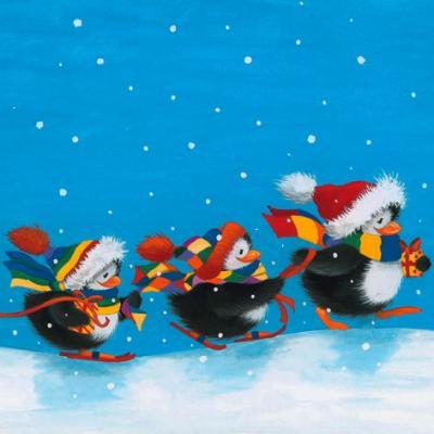 Lunch Servietten Four Penguins in a Row,  Tiere - Pinguine,  Weihnachten,  lunchservietten