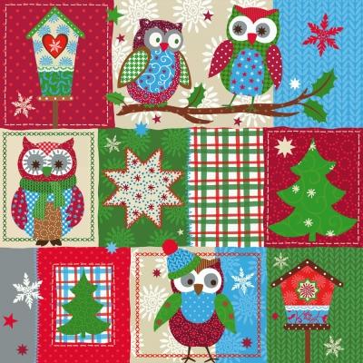 Lunch Servietten Owl Patchwork,  Weihnachten - Weihnachtsbaum,  Tiere -  Sonstige,  Weihnachten,  lunchservietten,  Eulen,  Sterne,  Vogelhaus,  Weihnachtsbaum