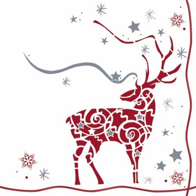 Lunch Servietten Venados Magia,  Tiere - Reh / Hirsch,  Winter - Kristalle / Flocken,  Weihnachten,  lunchservietten,  Hirsch,  Schneeflocken