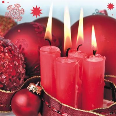 Servietten 33 x 33 cm,  Weihnachten - Kerzen,  Weihnachten,  lunchservietten,  Kerzen