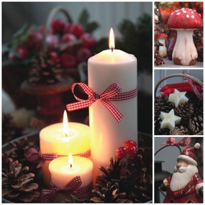 Servietten / Kerzen,  Weihnachten - Kerzen,  Weihnachten,  lunchservietten,  Kerzen,  Sterne,  Pilze,  Weihnachtsmann
