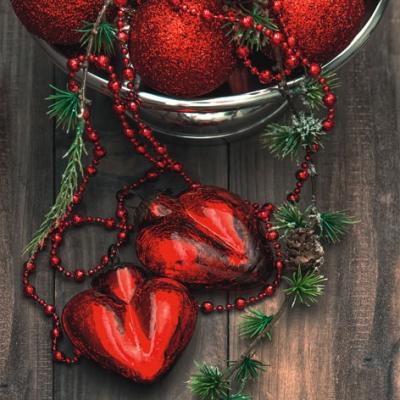 Servietten 25 x 25 cm ,  Weihnachten - Baumschmuck,  Weihnachten,  lunchservietten,  Baumkugeln,  Herzen