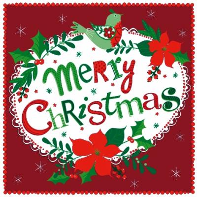 Lunch Servietten Merry Christmas Emblem,  Sonstiges - Schriften,  Weihnachten,  lunchservietten,  Schriften