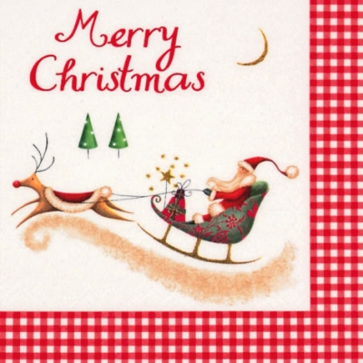 Lunch Servietten Merry Christmas with Santa,  Sonstiges - Schriften,  Winter - Schlitten,  Weihnachten - Weihnachtsmann,  Weihnachten,  lunchservietten,  Weihnachtsmann,  Schlitten,  Schriften,  Hirsch