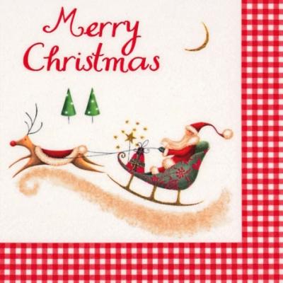 Servietten / Schriften,  Sonstiges - Schriften,  Winter - Schlitten,  Weihnachten - Weihnachtsmann,  Weihnachten,  lunchservietten,  Weihnachtsmann,  Schlitten,  Schriften,  Hirsch
