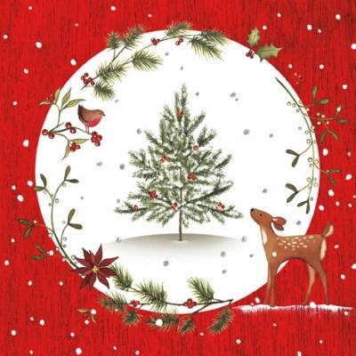 Tovaglioli 33x33 cm - Fawn con albero di Natale rosso