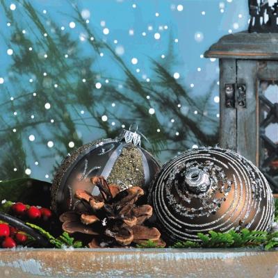Lunch Servietten Palle di Natale,  Weihnachten - Baumschmuck,  Weihnachten,  lunchservietten,  Baumkugeln,  Zapfen