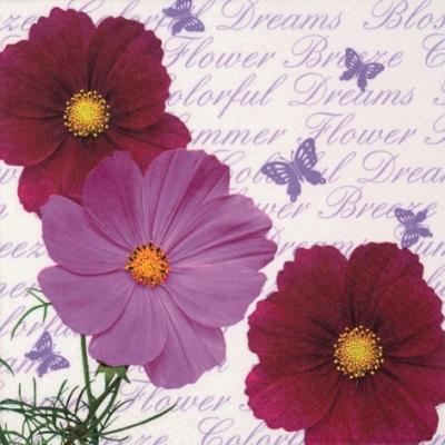 20 Servietten - 33 x 33 cm Camea,  Tiere - Schmetterlinge,  Sonstiges - Schriften,  Blumen,  Everyday,  lunchservietten,  Cosmea