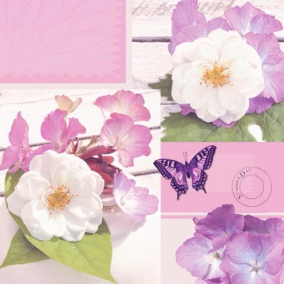 Servietten / Schmetterlinge,  Tiere - Schmetterlinge,  Blumen -  Sonstige,  Everyday,  lunchservietten,  Blüten,  Hortensien,  Schmetterlinge