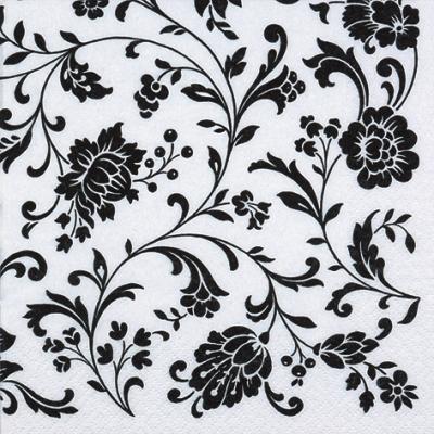 Lunch Servietten Arabesque White white-black,  Sonstiges - Muster,  Blumen,  Everyday,  lunchservietten
