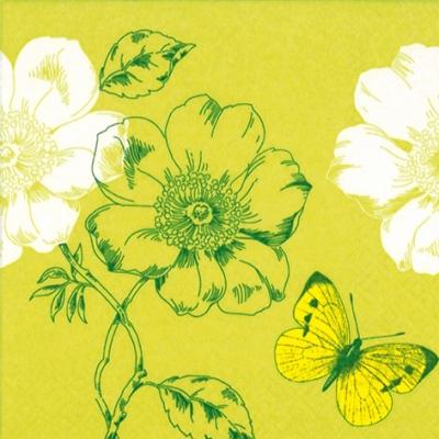 Lunch Servietten Coquelicots+Papillon lime,  Blumen -  Sonstige,  Tiere - Schmetterlinge,  Everyday,  lunchservietten,  Schmetterlinge,  Blumen