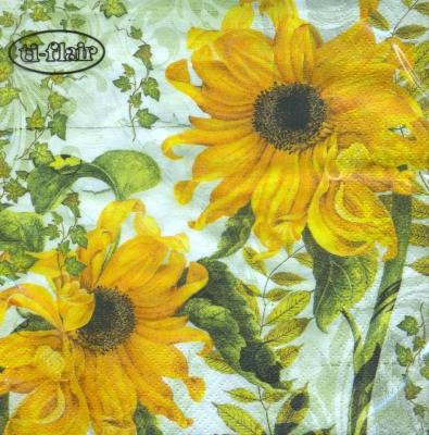 Lunch Servietten Girasoles Amarillos green,  Blumen - Sonnenblumen,  Herbst,  lunchservietten,  Sonnenblume