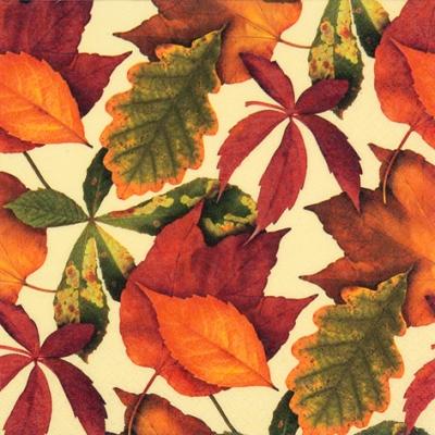 20 Servietten - 33 x 33 cm Foliage ivory,  Herbst - Blätter / Laub,  Herbst,  lunchservietten