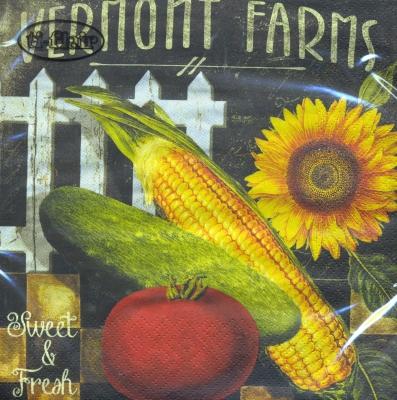 Servietten 33 x 33 cm,  Gemüse - Tomaten,  Gemüse - Mais,  Blumen - Sonnenblumen,  Herbst,  lunchservietten,  Tomaten,  Schriften,  Mais
