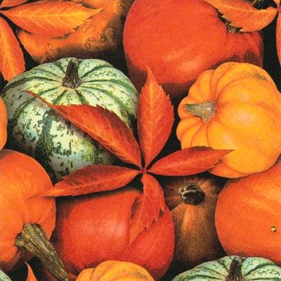 20 Servietten - 33 x 33 cm Pumpkins and Leaves,  Früchte - Kürbisse,  Herbst,  lunchservietten,  Kürbis